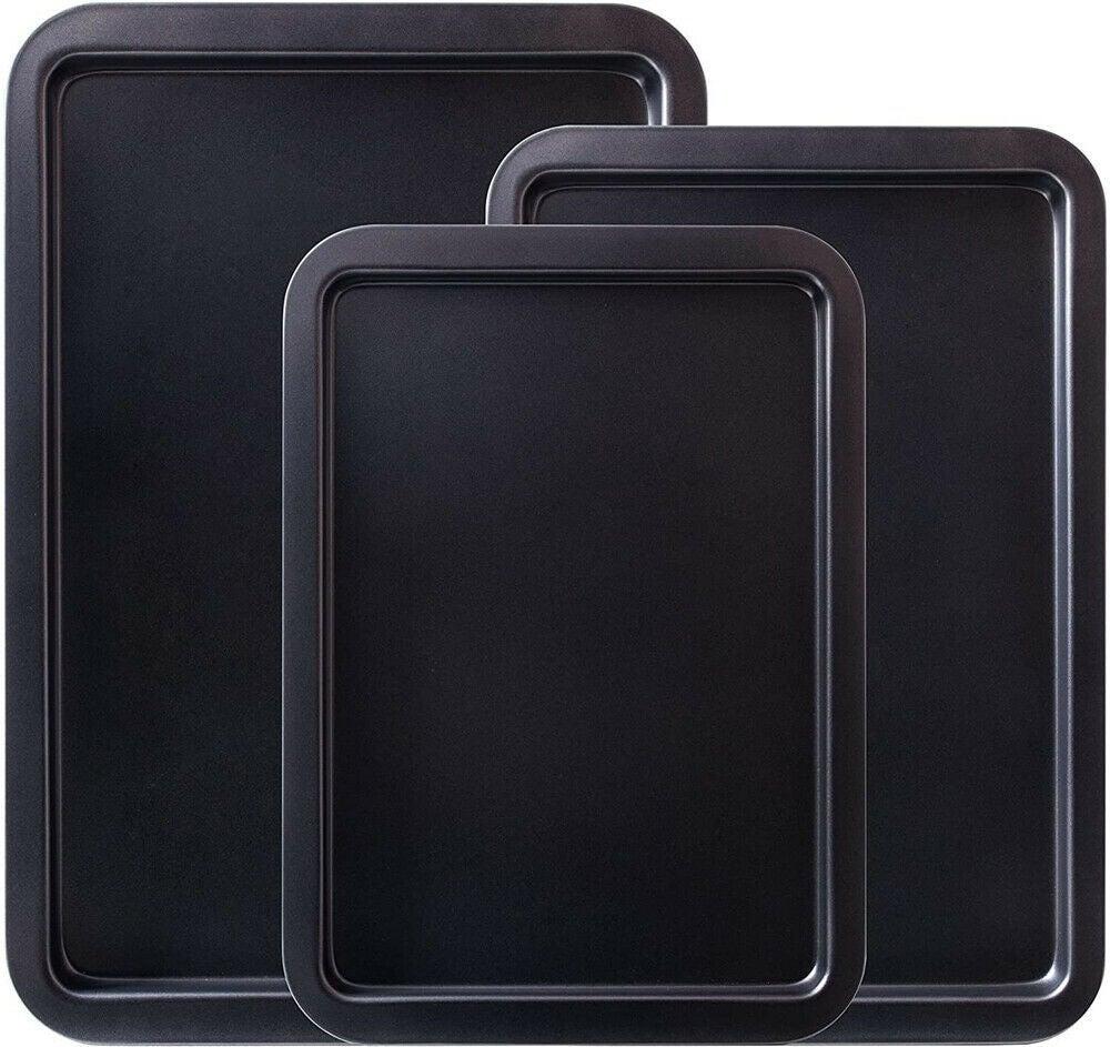 Ozoffer 3X Bread Biscuit Baking Pan Non-stick BBQ Tray Carbon Steel Kitchen Rectangular