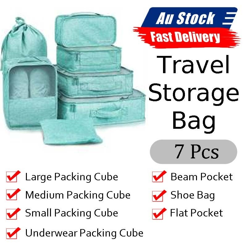 Ozoffer 7Pcs Packing Cubes Travel Pouches Luggage Organiser Clothes Suitcase Storage Bag