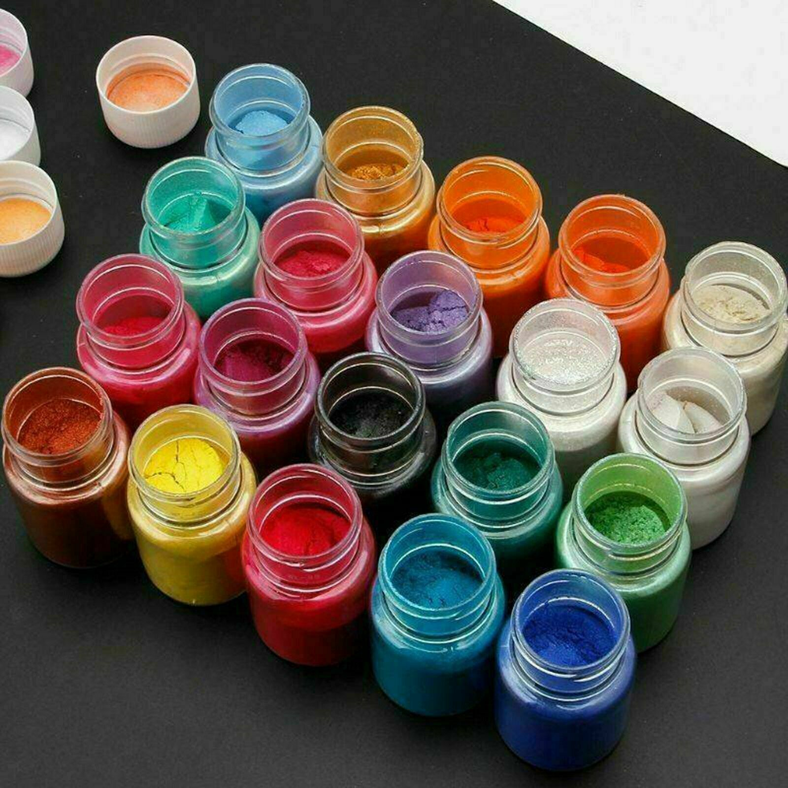 Ozoffer 8pcs Pearl Pigment Powder for Epoxy Resin Floors Metallic Dye Ultra Mixed Color