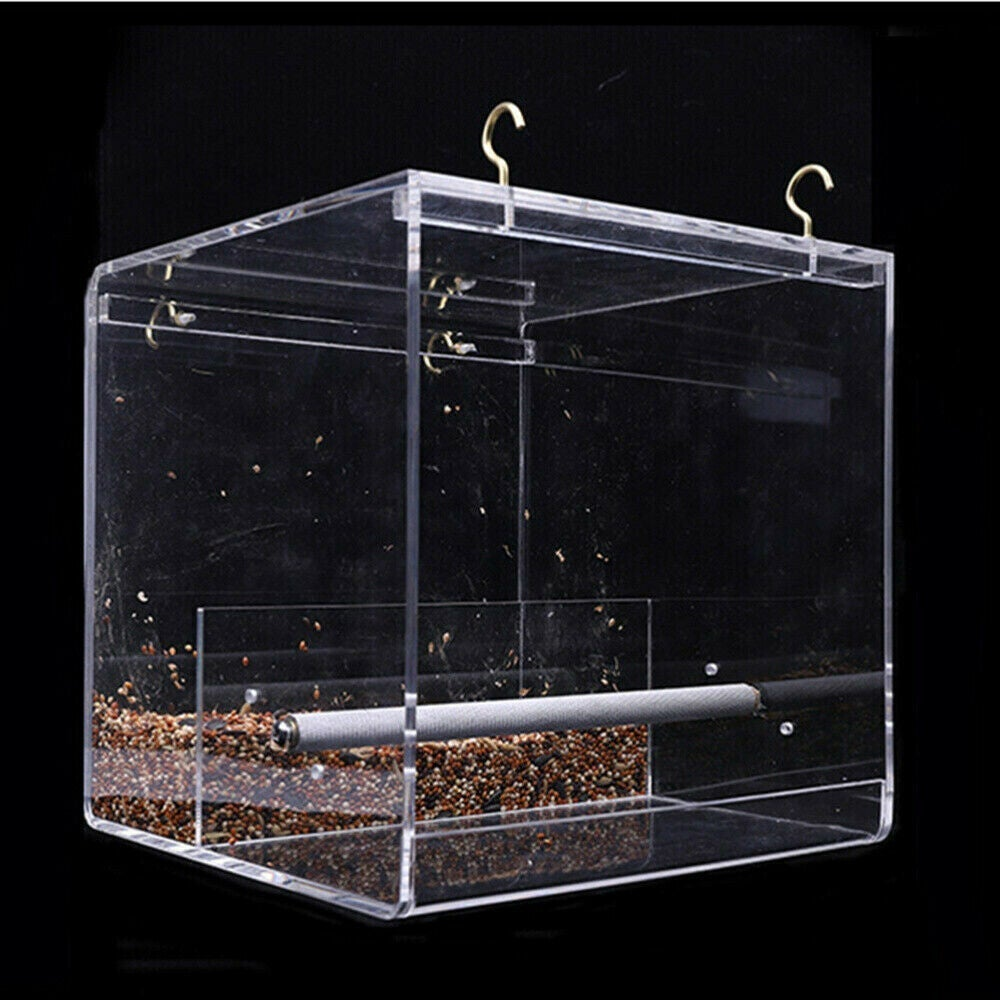 Ozoffer Acrylic Automatic Parrot Feeder No Mess Bird Cage Seed Feeding Container Box