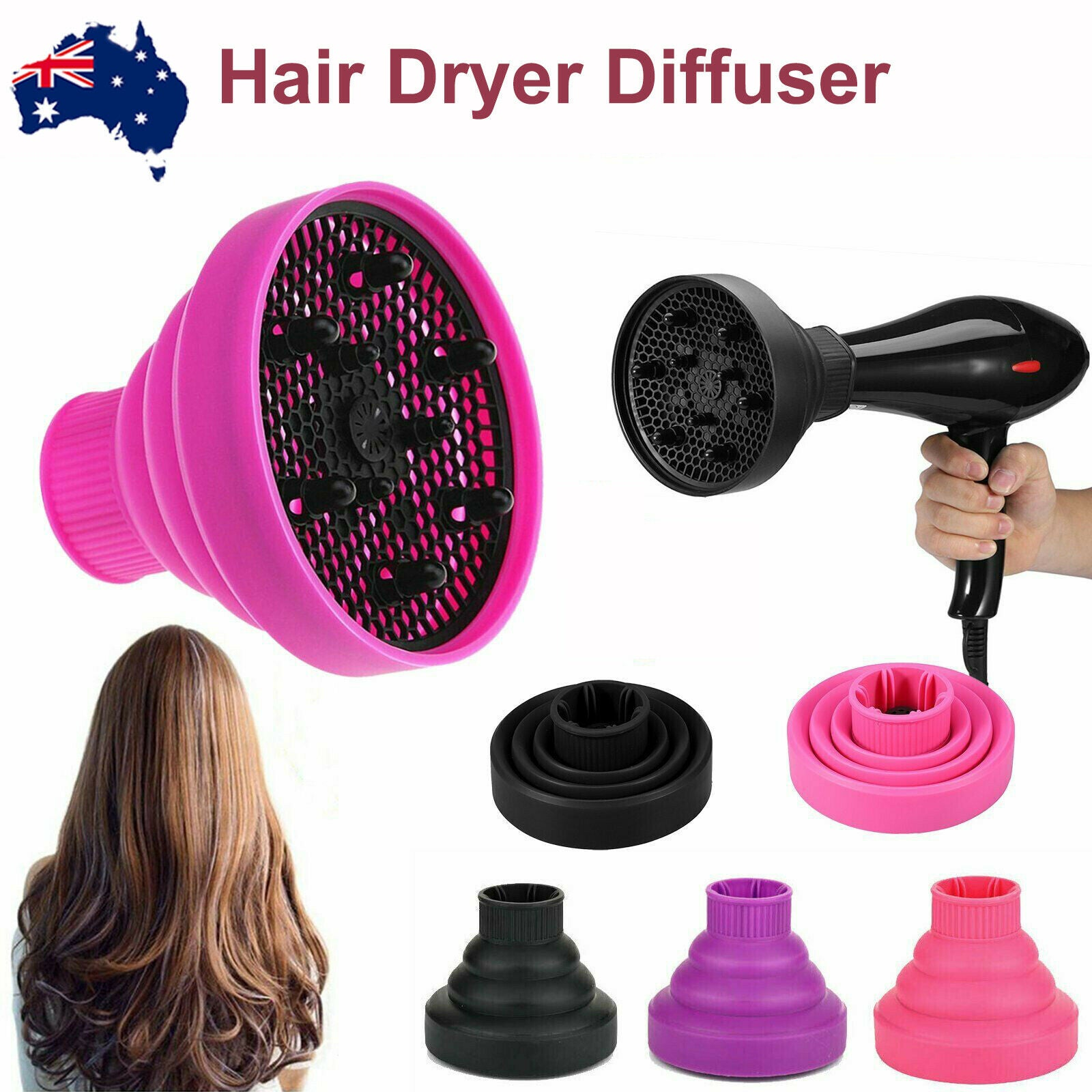 Ozoffer Silicone NEW Hair Dryer Universal Travel Professional Salon Foldable Diffuser