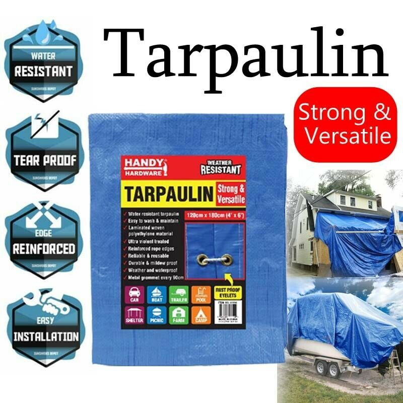 Ozoffer Waterproof Tarps Cover Blue Tarpaulin Tarp Canvas Camping Poly Sheet Truck UV PE