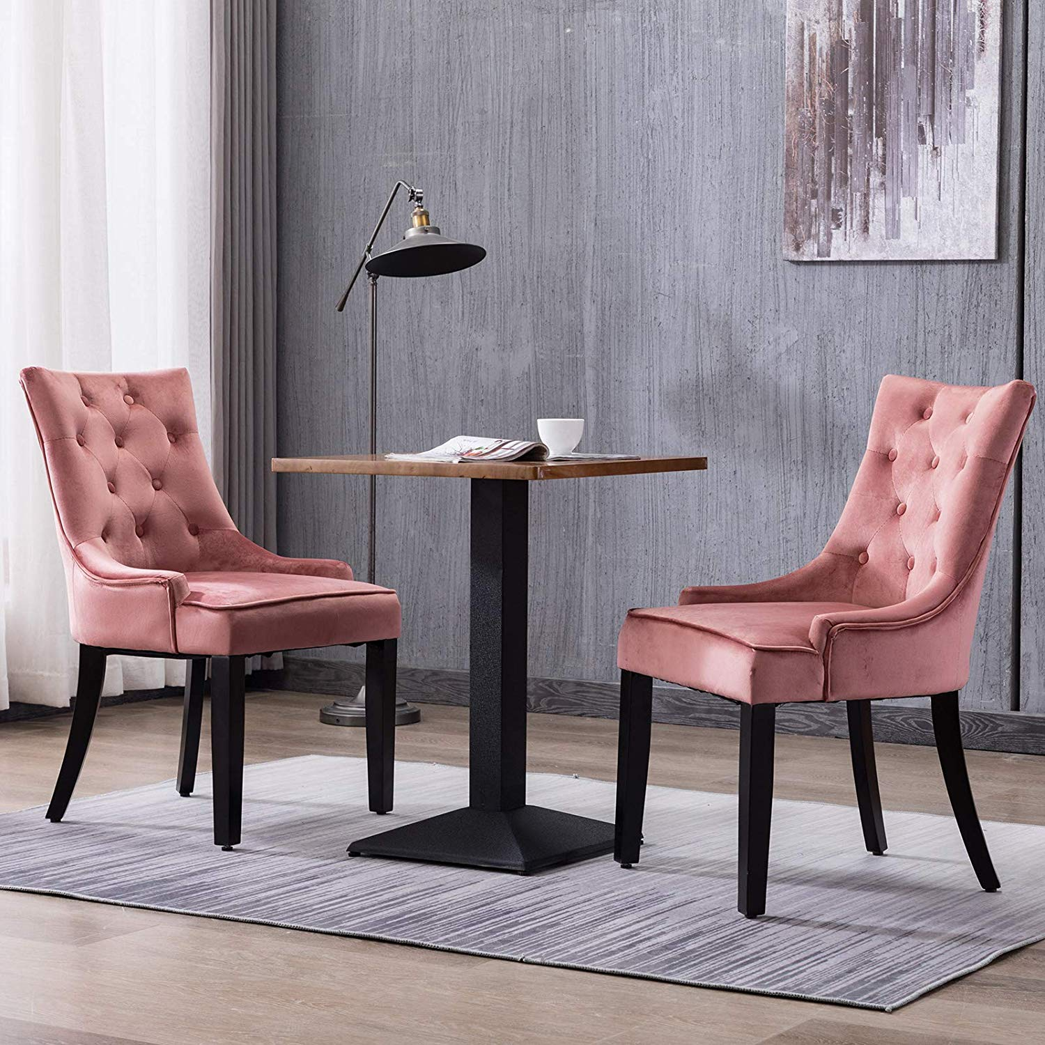 Advwin Set of 2 Dining Chairs Tufted Design Fabric Kitchen Cafe Chairs Wood Leg Pink(55.9cmW x46cm D x 93cm H)