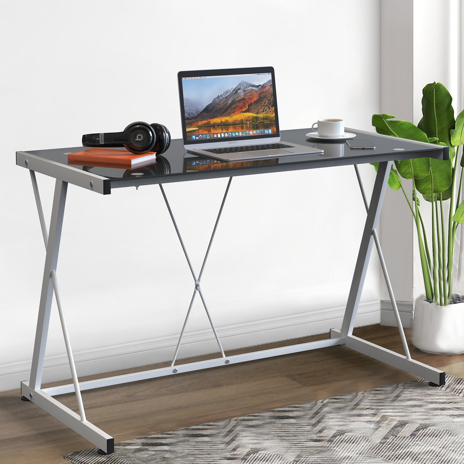 Advwin Z Shaped Tempered Glass Computer Desk Laptop Table for Gaming Study Black