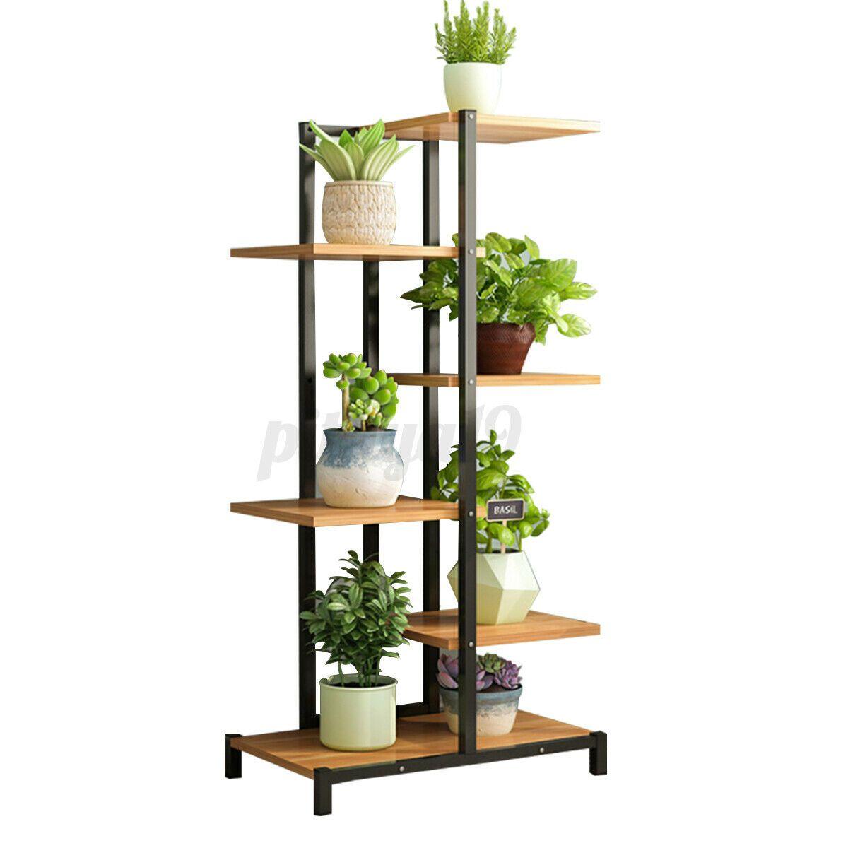 4/6 Tier Plant Stand Flower Rack Metal Wood Shelf Garden Display Indoor Outdoor