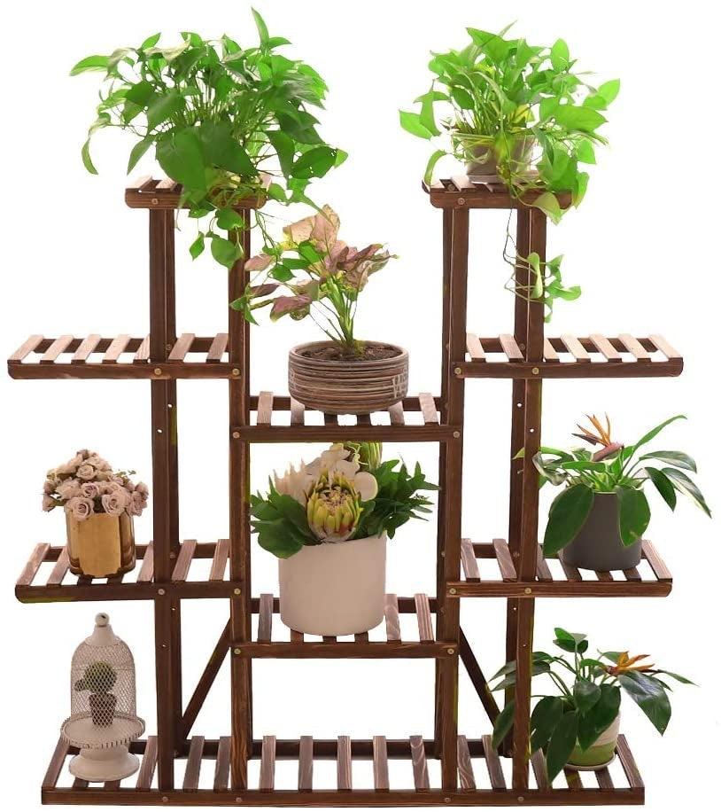 Wood Plant Stand Ladder Shelf Large Plant Pot Holder Herb Planter Flower Rack For Indoor Outdoor