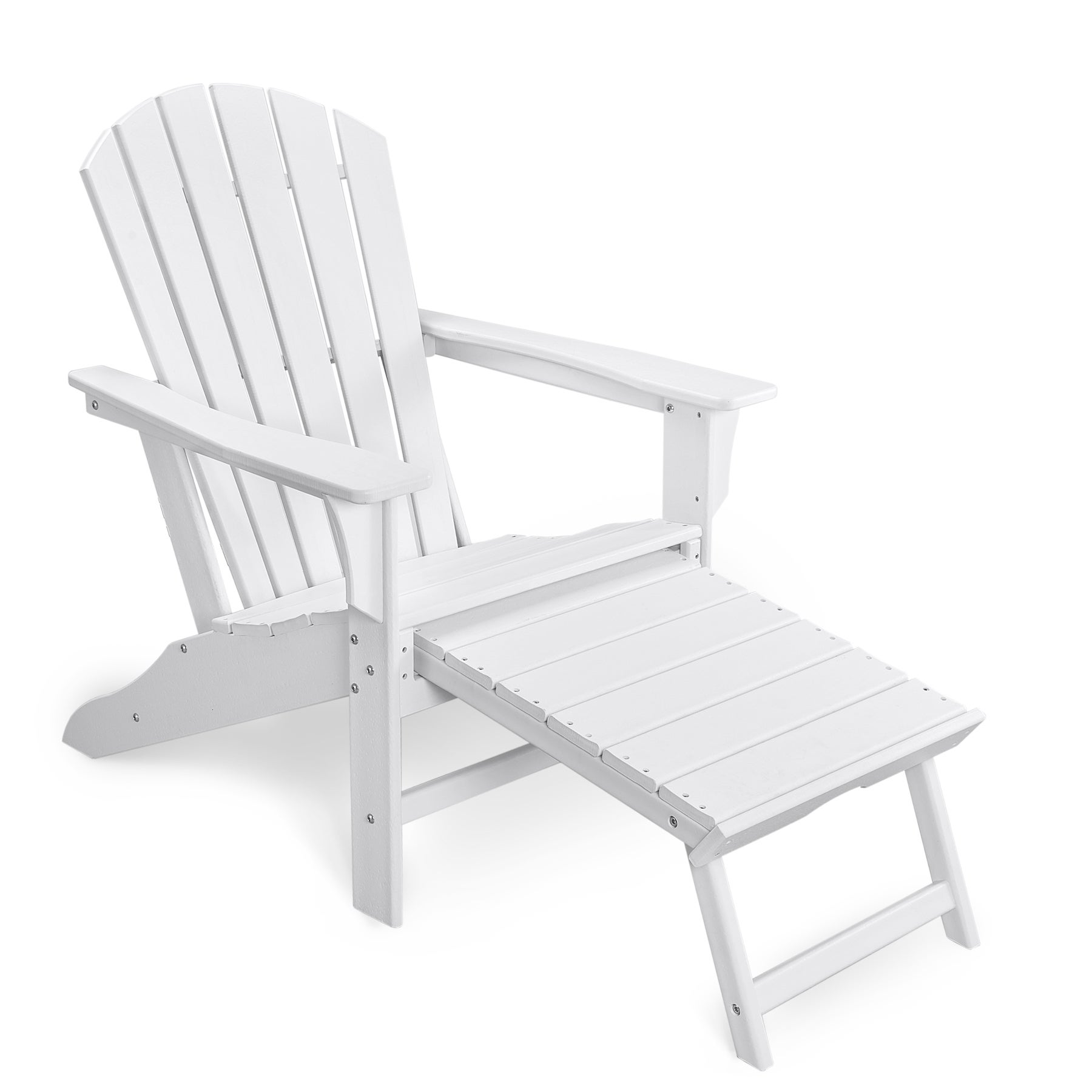 EHOMMATE HDPE Outdoor Adirondack Chair with Footrest White