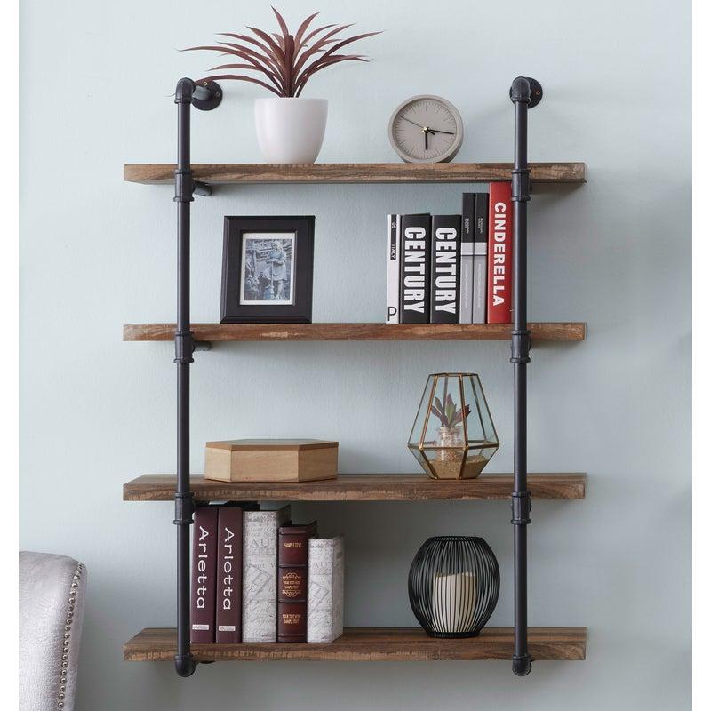 IHOMDEC 4 Tier Industrial Pipe Wall Shelf Retro Brown