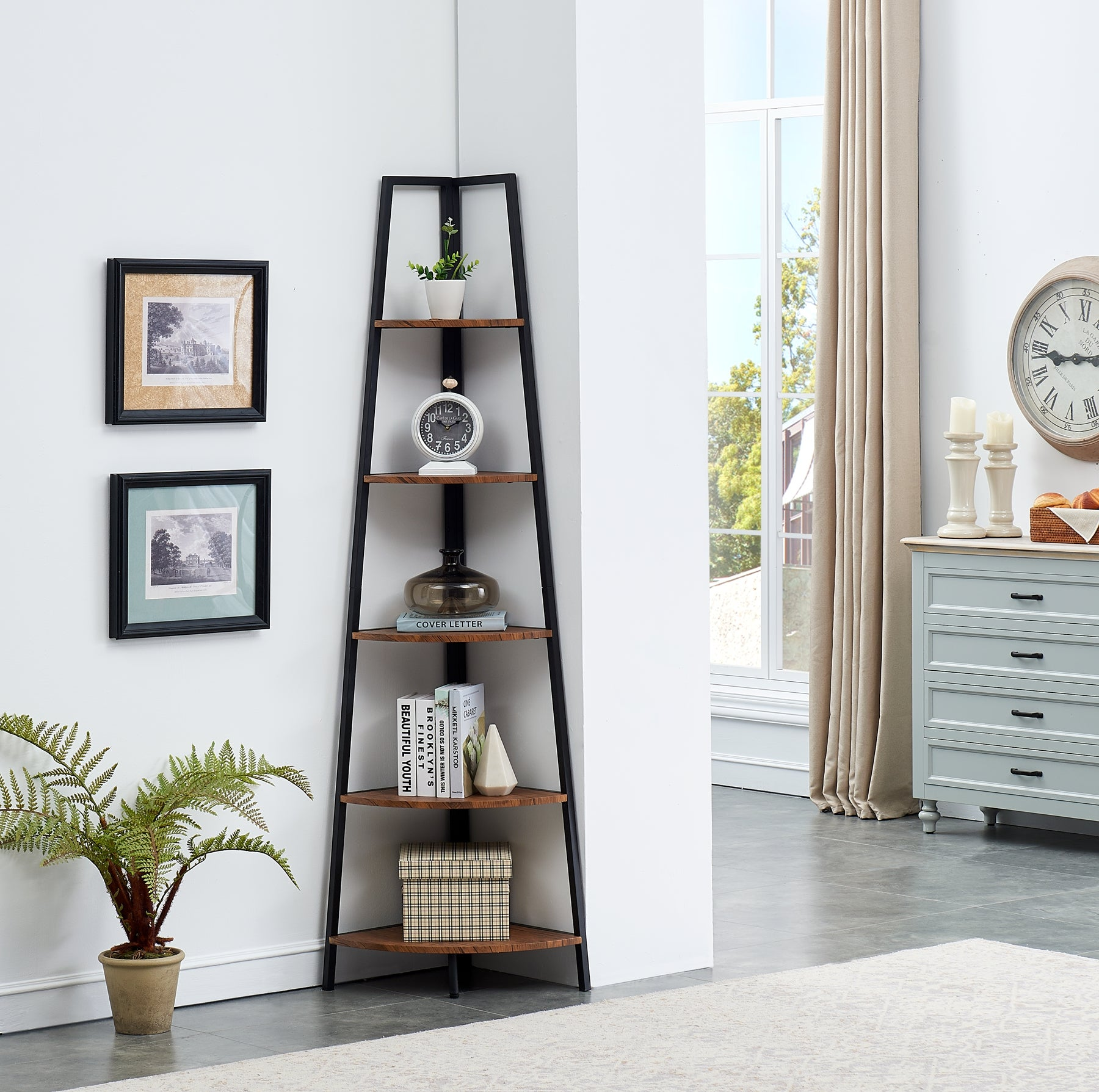 IHOMDEC 5 Tier A-Shaped Industrial Style Corner Shelves Retro Brown