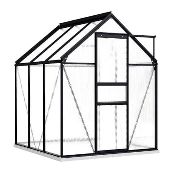 Greenhouse With Base Frame Anthracite Aluminium 190X190 Cm