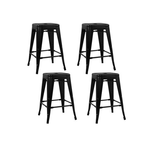 Set Of 4 Metal Backless Bar Stools Black