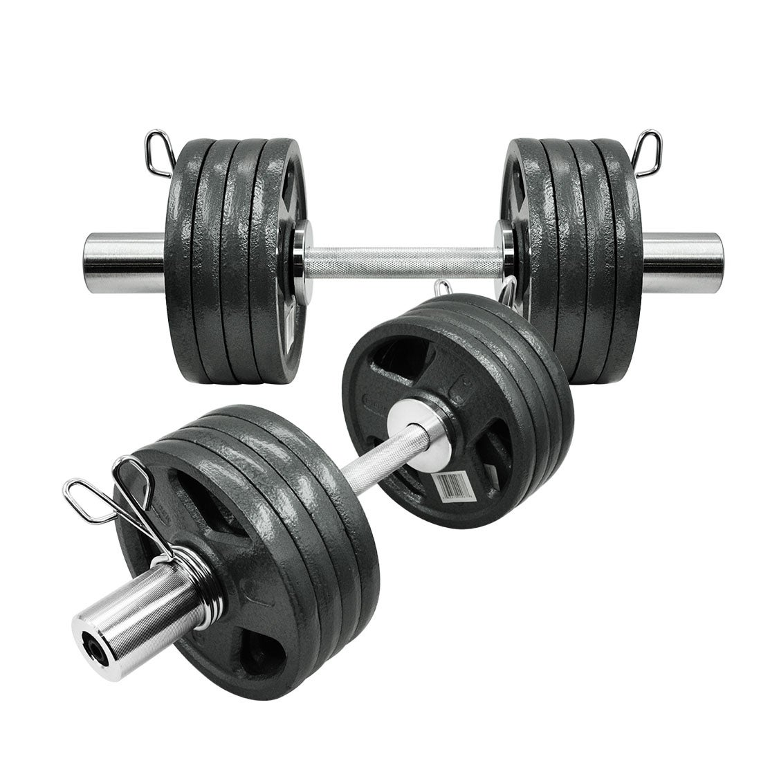 44.3kg Olympic Dumbell Set - 5lbs x 16 Cast Iron Weight Plate 50cm Dumbbell Set