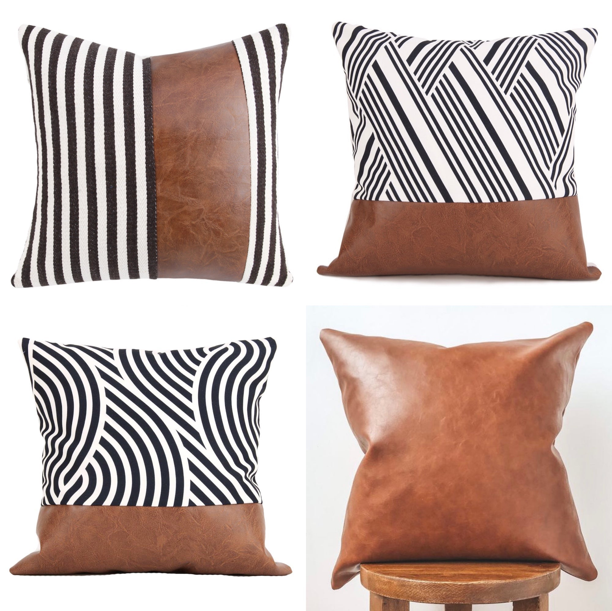 Faux Leather Cushion Covers With Canvas Square Throw Pillow Cases Home Decor