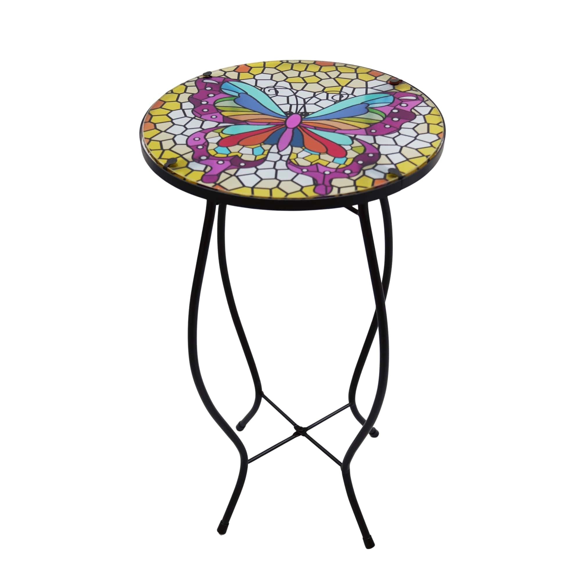 Glass Patio Side Table Butterfly Colorfully-Painted Porch Park Garden Furniture