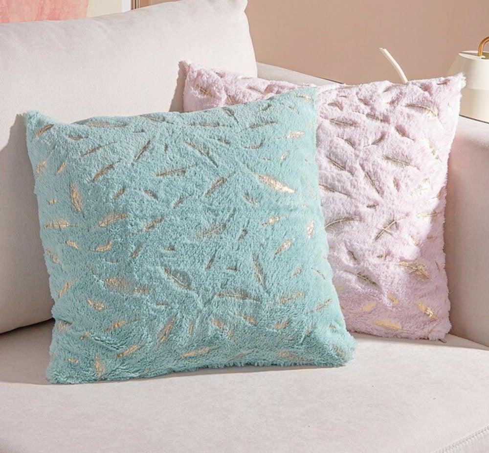 Shaggy Cushion Covers Soft Flannel Short Pile Car Waist Throw Pillowcase