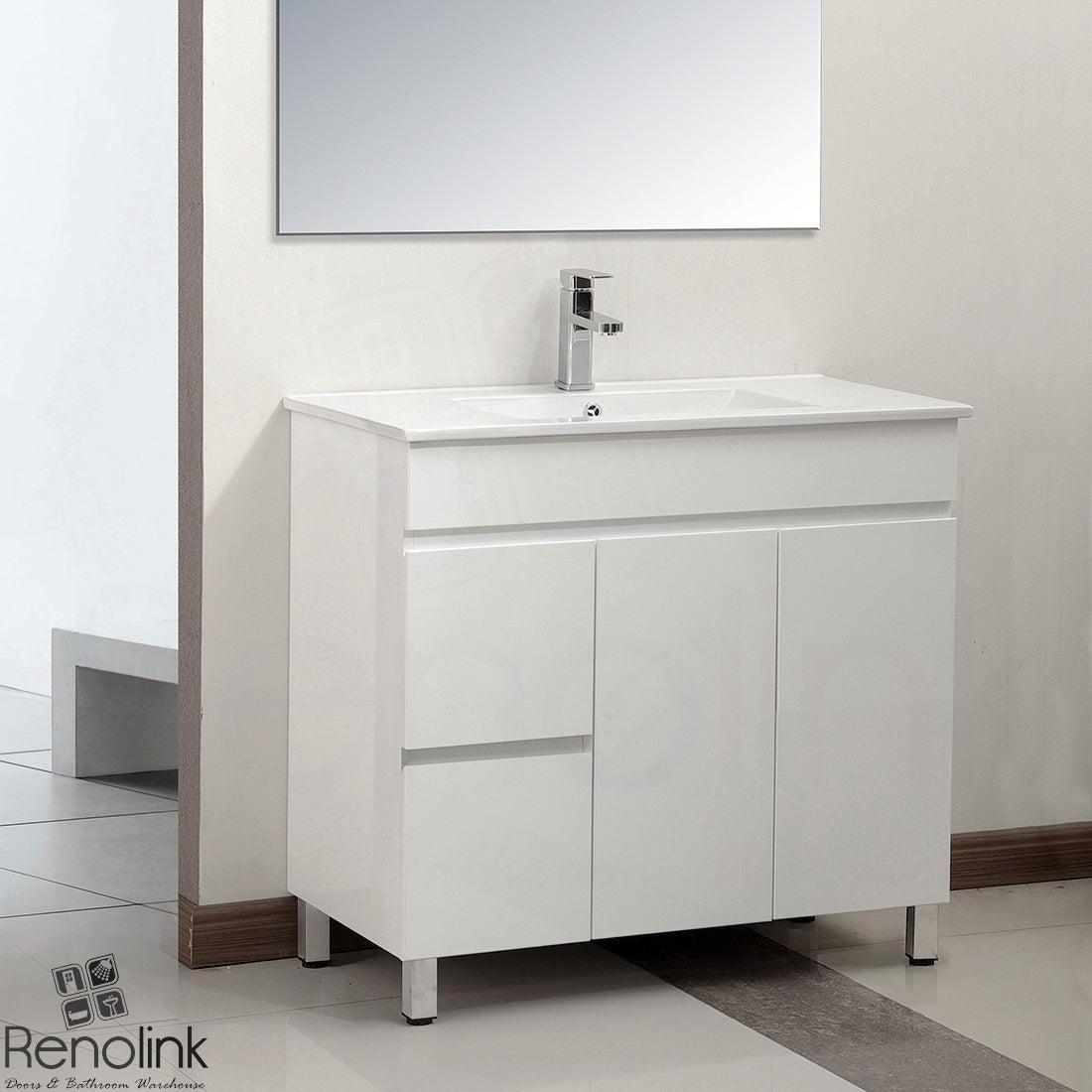 Renolink Lucena 900mm Slimline Narrow Left Drawer Bathroom Cabinet Finger Pull White Poly