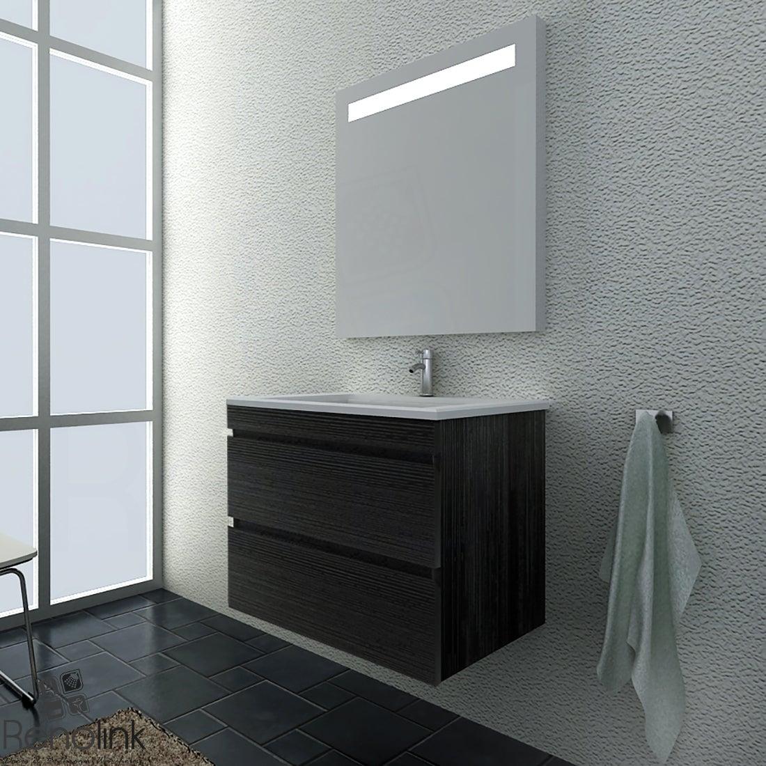 Renolink Vellena 600mm Charcoal Grey Wall Hung Bathroom Vanity Cabinet