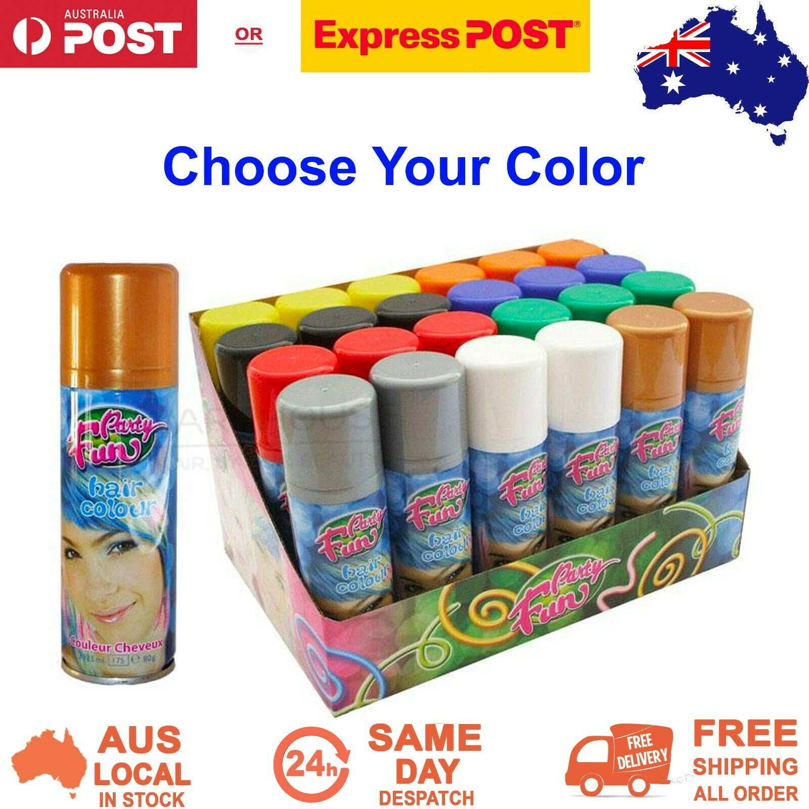 Party Fun Coloured Hair Spray Instant Temporary Wash Out Hair Colour 125 ml