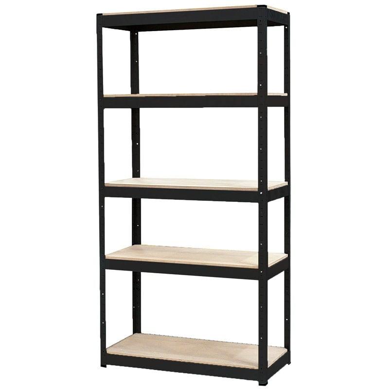 Black Slot-N-Lock 5 Shelf Unit 1800 x 1200 x 450mm Storage Garage Workshop