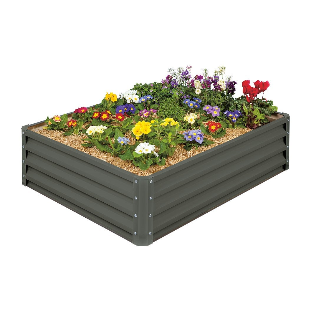 Stratco Saver Raised Garden Bed 116 x 90 x 30cm Grey