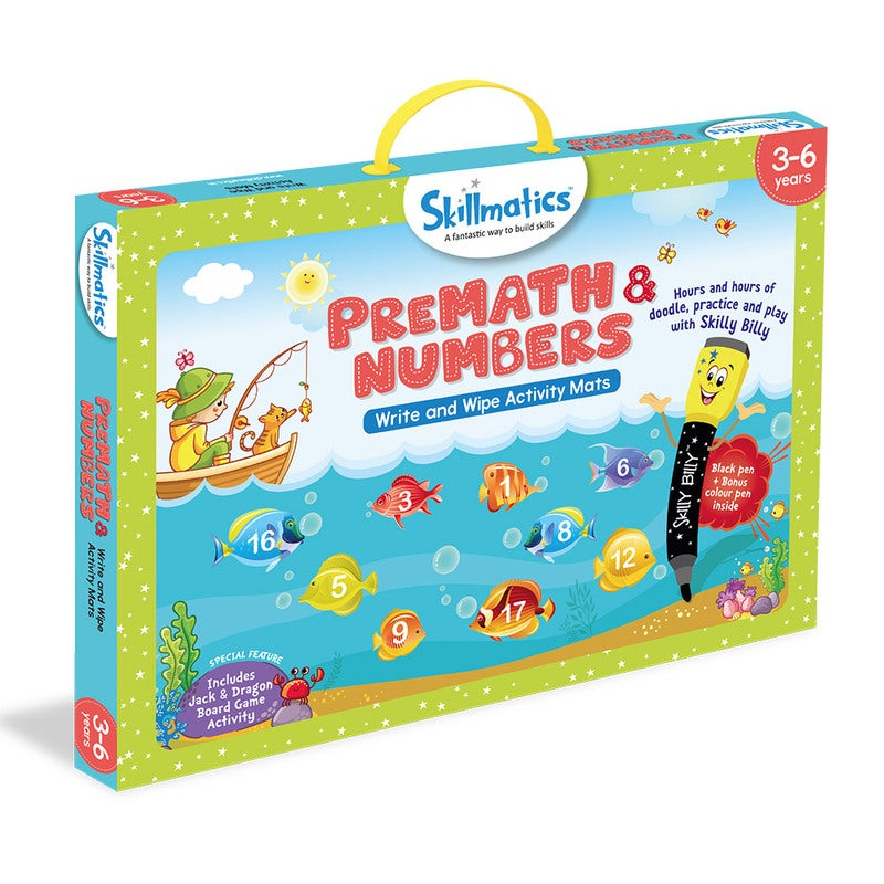 Skillmatics Pre-Math And Numbers - Kids Early Education - 17 Write & Wipe Educational Games For Children