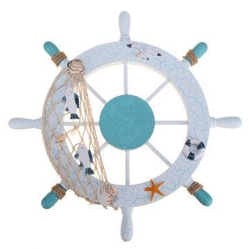 11'' Beach Wooden Boat Ship Steering Wheel Nautical Beach Fish Net Shell Decorations