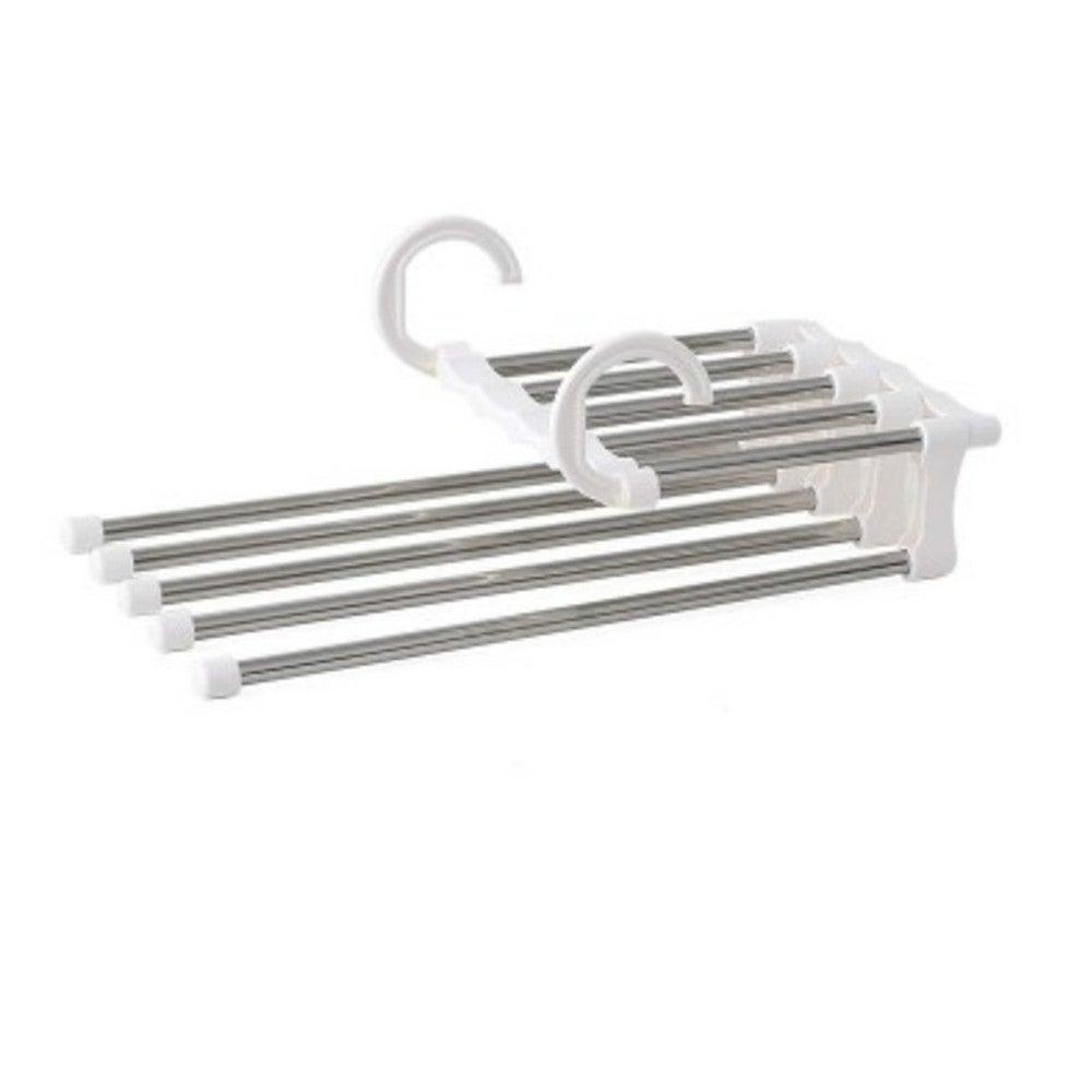 3Pcs Multi-functional 5 in 1 Trouser Storage Rack Adjustable Pants Tie Storage Shelf Closet Organizer Stainless Steel Clothes Hanger