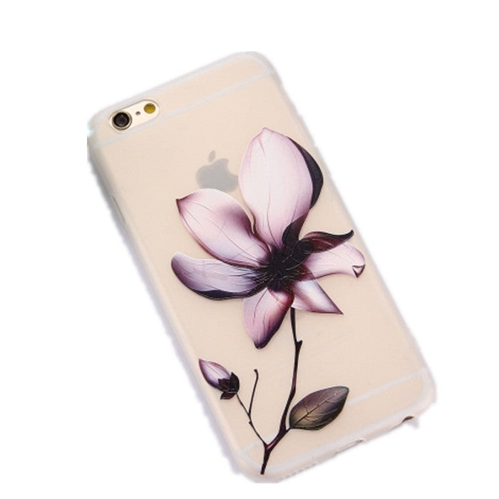 4PCS For iPhone 6 & 6s TPU Frosted Embossed A Flower Pattern Protective Case Back Cover