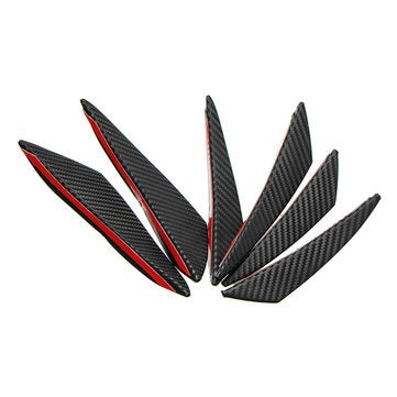 6pcs Universal Carbon Fiber Spoiler Front Bumper Fins Spoiler Canards Refit Car Spoiler Wing