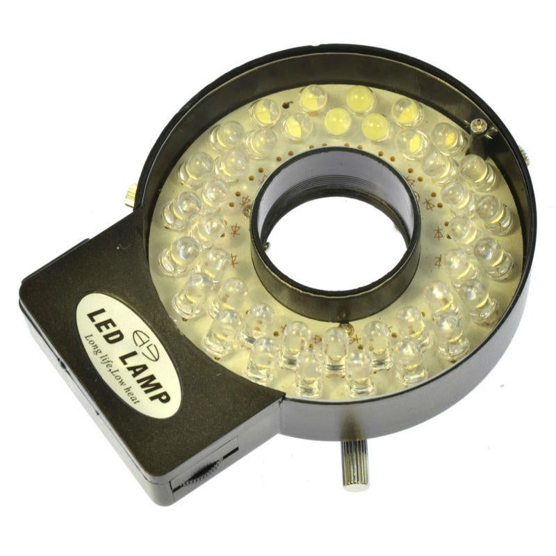 Adjustable 40 LED Ring Light Illuminator Lamp For Industry Stereo Microscope With 110V-240V AC Power Magnifier Adapter