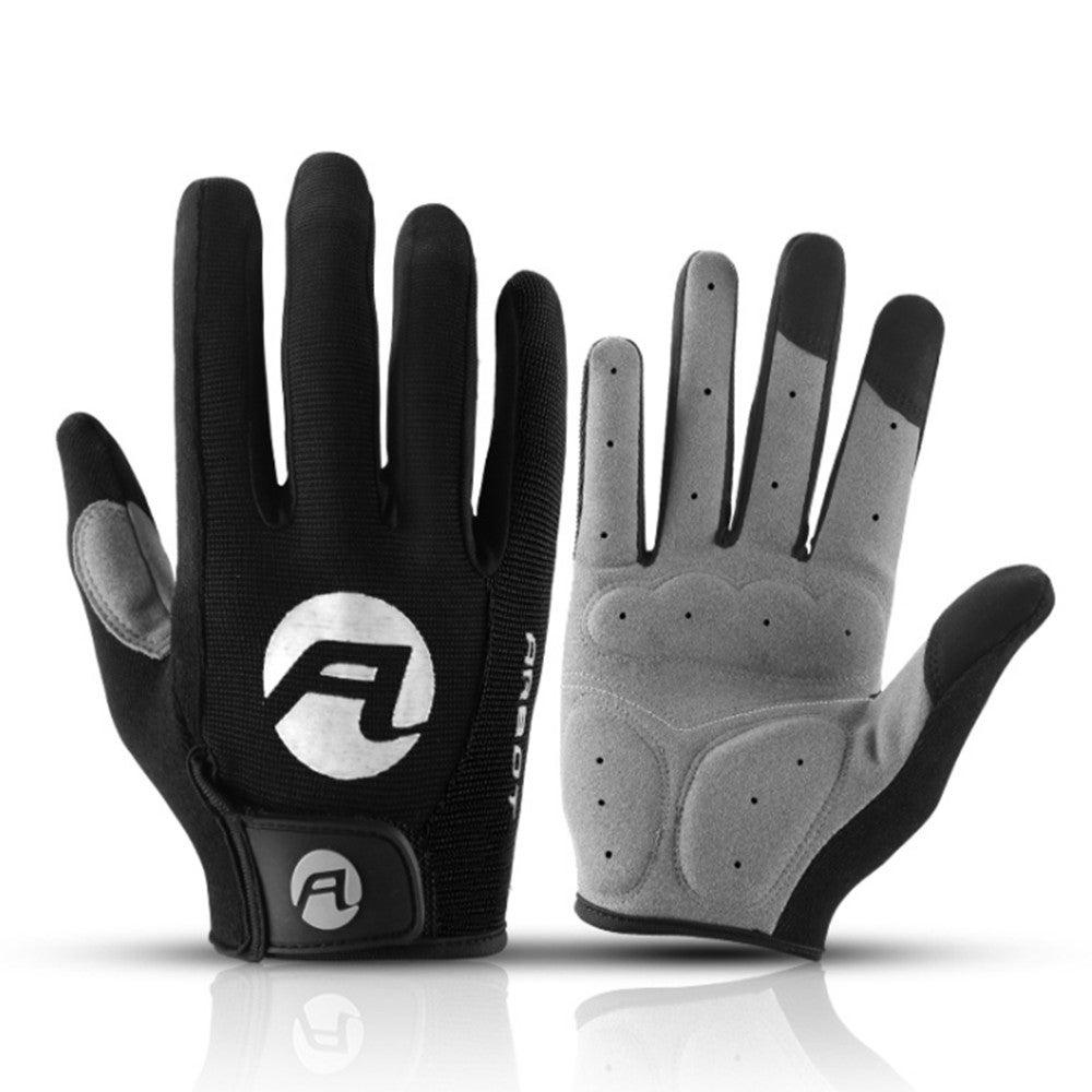 Cycling Gloves Full Finger Bicycle Gloves Anti Slip Gel Pad Motorcycle Bike Glove, Size:XL(Black)