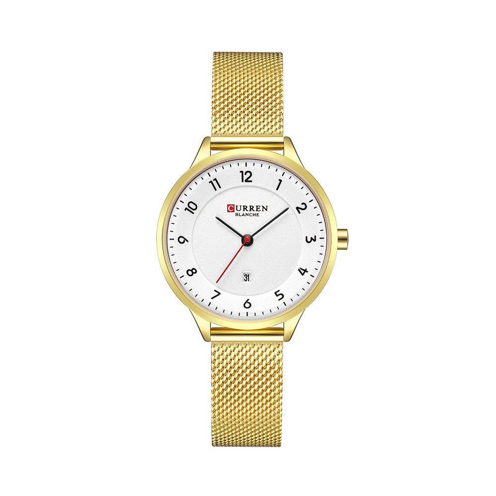 Date Display Simple Design Women Wrist Watch Full Steel Quartz Watch GOLD COLOUR