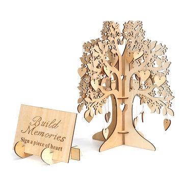 DIY Wedding Book Tree Marriage Guest Book Wooden Tree Hearts Pendant Drop Ornaments Decorations