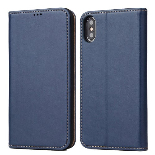 Horizontal Flip PU Leather Case for iPhone XS / X, with Holder & Card Slots & Wallet(Blue)
