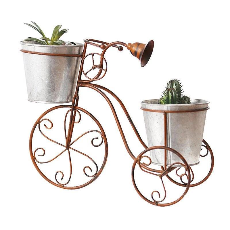 Iron Bicycle Plant Pot Stand Art Outdoor Indoor Garden Table Flower Rack Home Decorations