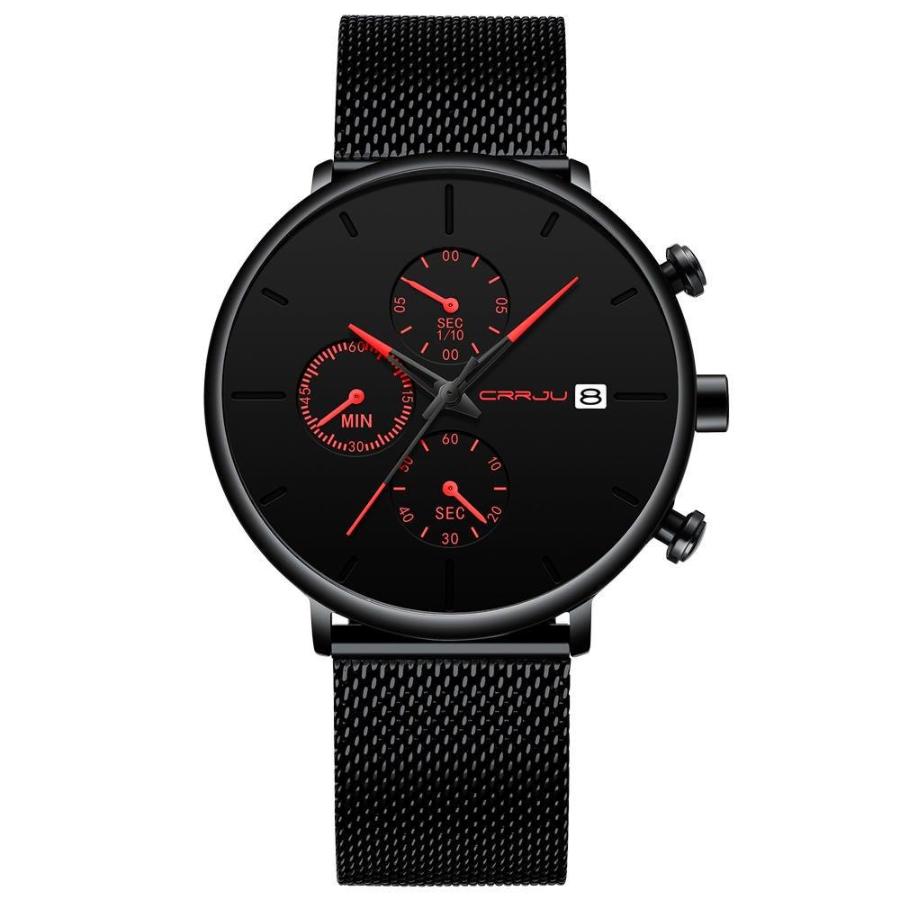 Men Full Mesh Steel Band Fashion Needle Dial Design Calendar Quartz Watch RED COLOUR