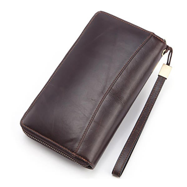 Men Soft Cowhide Multi-funtion 28 Card Slot Wallet Solid Phone Purse