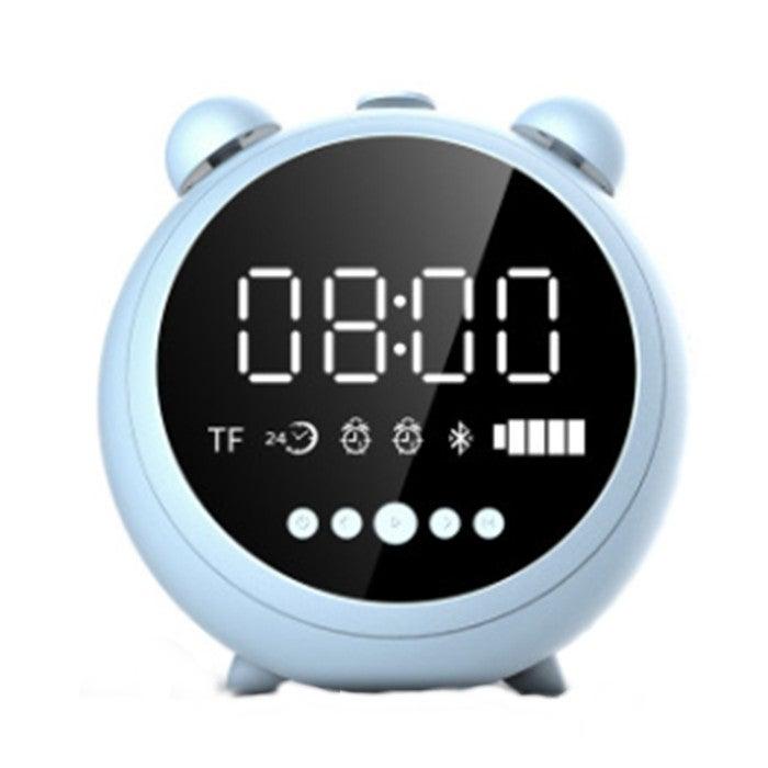 Portable Mirror Alarm Clock Bluetooth V5.0 Desktop Speaker, Support TF Card & FM & AUX(White)