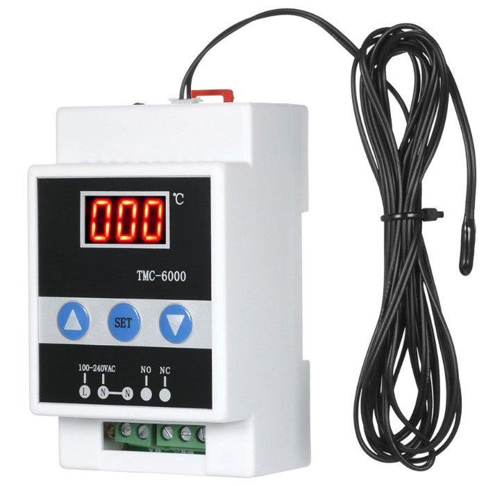 TMC-6000 110-240V Guide Rail Thermostat Digital Temperature Meter Thermoregulator Refrigeration Heating Temperature Meter