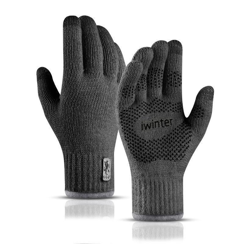 Touch Screen Gloves Outdoor Sports Knitted Autumn Winter Warm Non-slip Mountain Biking DARK-GRAY COLOUR