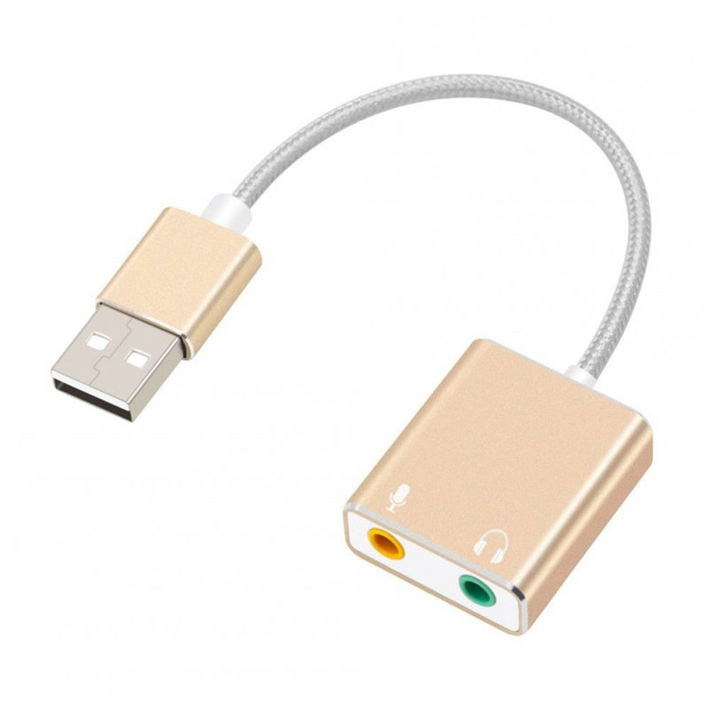 USB Audio Adapter External Stereo Sound Card with 3.5mm Headphone and Microphone Jack Golden