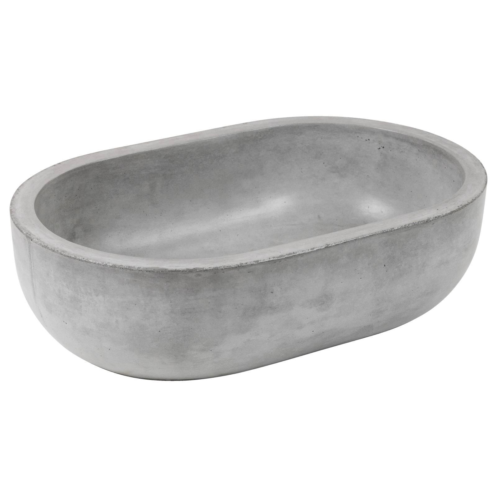 Bowman Oval Concrete Sink Grey Polished Concrete