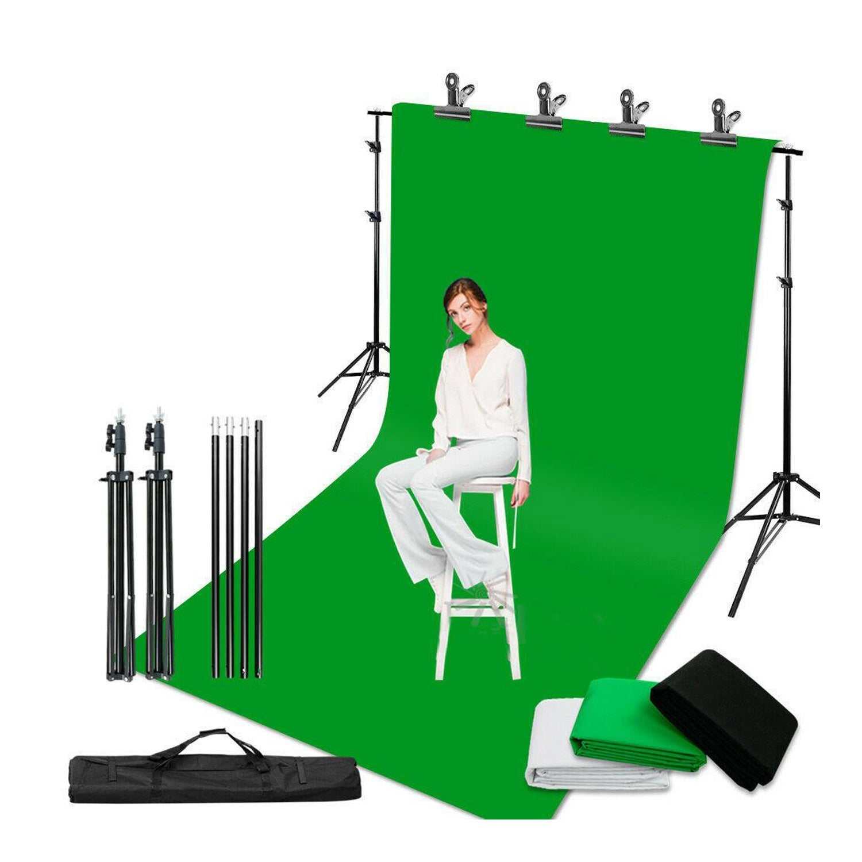 Chroma Key Green Screen Black White Background Stand KIT - 2X3M