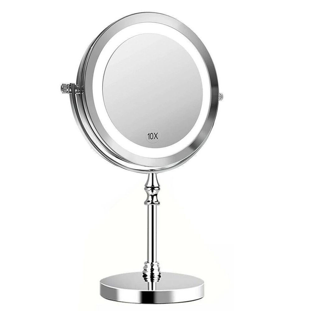 """360° 1X/10X Magnifying Makeup Mirror with LED Light 7"""" Stand Adjust Double Sided"""