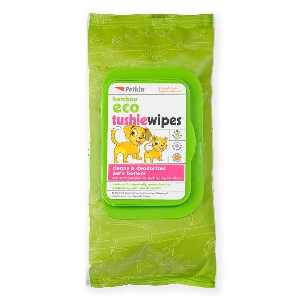 Petkin Bamboo Eco Tushie Dog & Cat Wipes 80 Pack