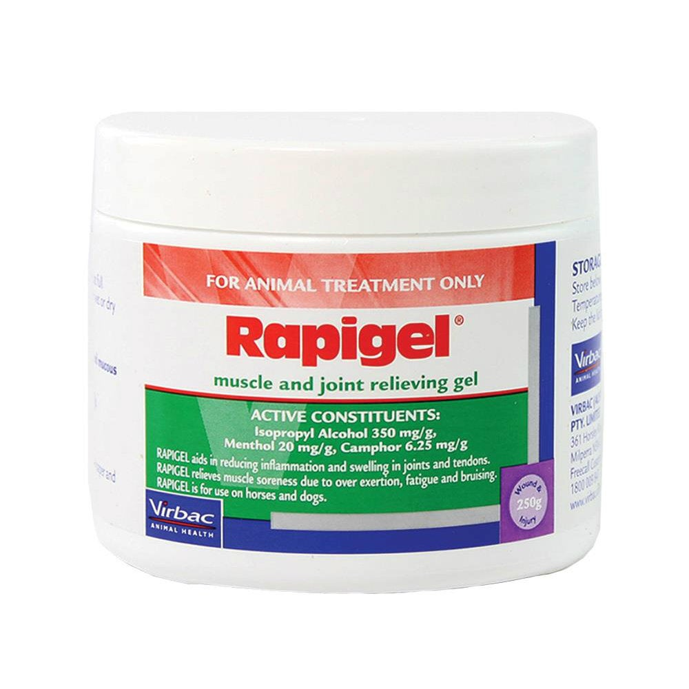 Virbac Rapigel Muscle and Joint Pain Sore Gel Horse Dog 250g Jar