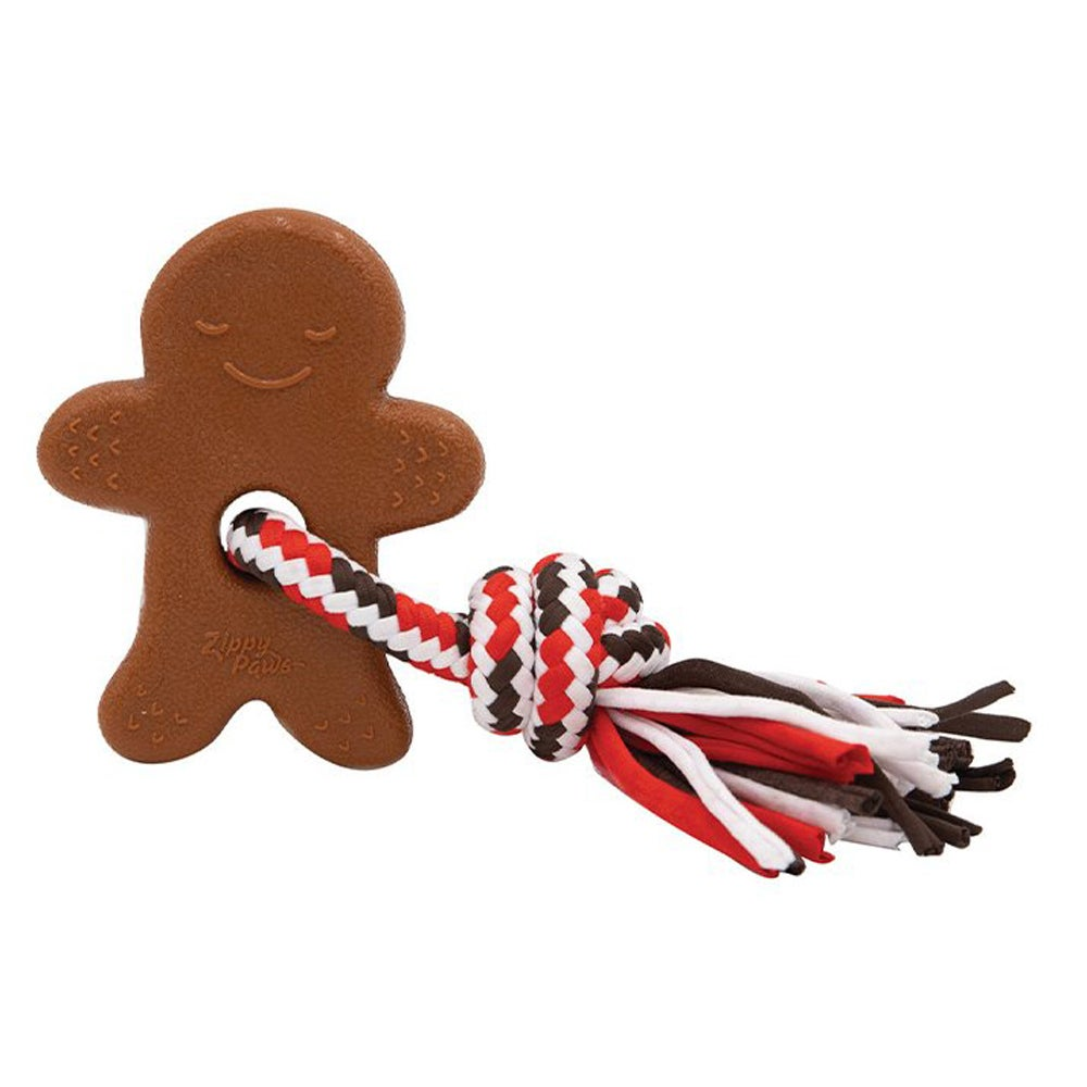 Zippy Paws Holiday Teether Ginger Bread Man Dog Chew Toy 17.5 x 12.5cm