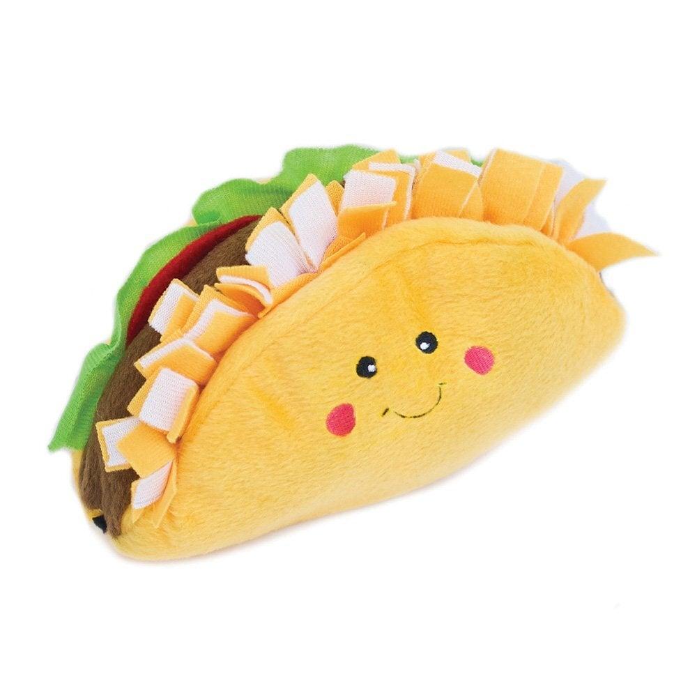 Zippy Paws Nomnomz Taco Plush Dog Squeaker Toy 17.5 x 12.5cm