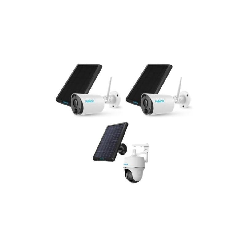 Reolink Ultimate Security Pack 2x Reolink Eco 100% & 1 Reolink Pan & Tilt Wire Free Battery WiFi Smart Home Cameras With Solar Panels