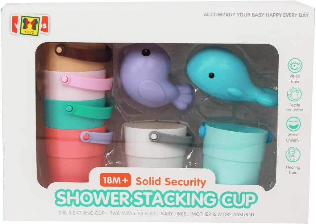 Pastel Stacking Cups With Sealife Rattle